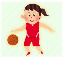 バスケットをする少女
